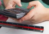 Office work per calculator — Stock Photo