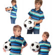 Boy with soccer ball on a white background — Stock Photo