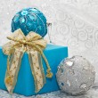 Christmas balls and gift — Stock Photo #14458783