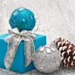 Christmas balls and gift — Stock Photo #14459119