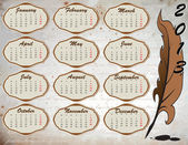 Calendar on vintage background with feather — Stock Vector