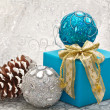 Christmas balls and gift — Stock Photo #14860687