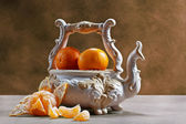 Still life with ripe tangerines — Stock Photo