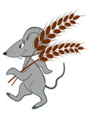 Little mouse with wheat on a white background — Stock Vector
