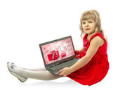 Girl with laptop isolated on white background — Stock Photo