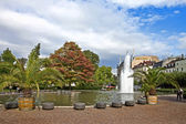 Central park with a fountain. Europe, Germany, Baden-Baden. — Stock Photo