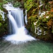 Forest waterfall in Baden-Baden. Europe, Germany. - Stock Photo