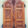Front door to the Catholic Church — Stock Photo