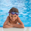 Stock Photo: Portrait of boy in pool
