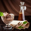 Still life with chocolate ice cream and mint — Stock Photo