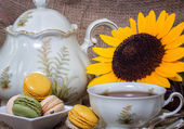 French macarons with yellow sunflowers — Stock Photo