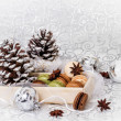 Stock Photo: Christmas background with French macarons