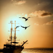 Ship silhouette at sunset  — Stock Photo