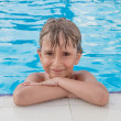 Portrait of the boy in the pool  — Stock Photo