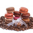 French macarons with coffee. Isolate on white background — Stock Photo