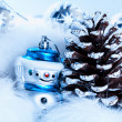Christmas background with cheerful snowman — Stock Photo #36161483