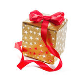 Gift in gold box with a red bow. Isolate on white background — 图库照片