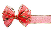 Festive red bow on white background — 图库照片