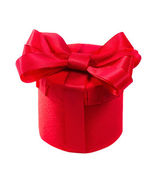 Red gift with a red bow. Isolate on white background — Stock Photo