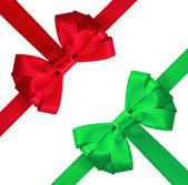 孤立的白色背景上的红色和绿色的弓 — 图库照片