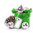 Gift with bow and Christmas balls. Isolate on white background — Stock Photo