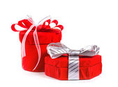 Gift in red box with a bow. Isolate on white background. — Stock Photo