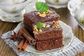 Fındıklı çikolatalı pasta dilimi — Stok fotoğraf