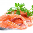 Slices of salmon, isolated on a white background. — Stock Photo
