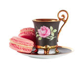 Cup of coffee with French macarons — Stock Photo