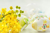 Easter background with colored eggs.  — Stock Photo