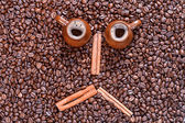 Coffee beans in the form of a smiling face — Stock Photo