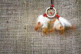 Abstract background of sacking and Dreamcatcher — Stock Photo