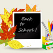School background with a pencil on a background of autumn leaves — Stock Vector #50721997