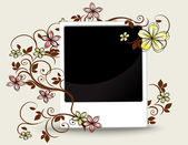 Old photograph with floral ornament — Stock Vector