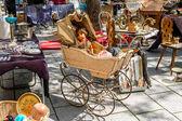 Flea market on the of Square in Strasburg. France, Alsace  — Stock Photo