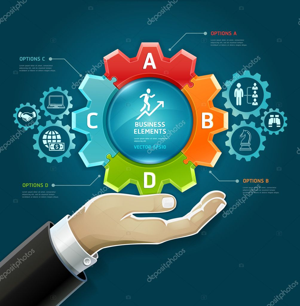 business concept  businessman hand with business strategy diagram    business concept  businessman hand   business strategy diagram options in gears symbol  vector illustration  can be used for workflow layout  diagram