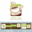 Coffee Cafe icon logo and business cards. Vector illustration. — Stock Vector