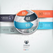 Abstract globe infographics network technology element template. — Stock Vector
