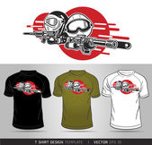 Cartoon Boy and Girl play Airsoft Guns Vector. T-shirt design — Stock Vector