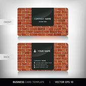 Red Brick Wall Business Card . Vector illustration. — Stock Vector