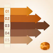 Retro Color Infographics Number Options Banner & Card. Vector illustration — Vettoriale Stock