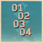 Retro color options number banner on old paper background. — Stock Vector