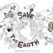 Green world drawing concept. Save the earth.  — Stock Vector