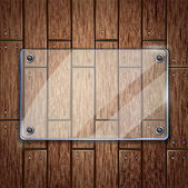 Wooden texture background and glass frame. vector illustration — Stock Vector