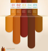 Retro Color Infographics Number Options Banner & Card. Vector illustration — Vetor de Stock