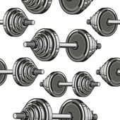 Dumbbells Seamless Pattern. Vector illustration — Stock Vector