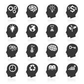 Thinking Heads Icons. — Stock Vector