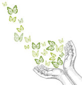 Drawing Hands releasing butterfly. Vector illustration — 图库矢量图片