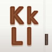 Texture de peau alphabet en cuir. illustration vectorielle. cuir plus — Vecteur