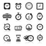 Clocks icons. Vector illustration — Stock Vector